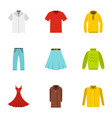 clothes icons set flat style vector image vector image
