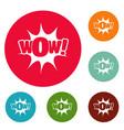 comic boom icons circle set vector image vector image