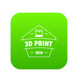 design 3d printing icon green vector image vector image