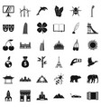 Different world icons set simple style