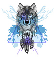 Dotwork tatoo stylized Wolf face with dreamcatcher vector image vector image