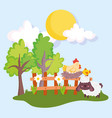 farm animals hen chicken nest in wooden fence and vector image vector image