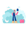 farm girl in working uniform hat holding shovel vector image vector image
