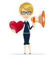 female with red heart and megaphone vector image