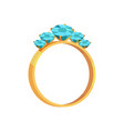 gold ring with turquoise gems isolated vector image vector image