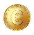 golden euro coin money vector image