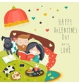 Happy couple in bed with cats and dog vector image vector image
