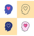 human head with heart icon set in flat and line vector image vector image