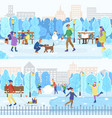 ice rink and winter park people skating outdoors vector image