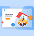 isometric lettering home repair landing page vector image vector image