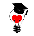 Light bulb with heart and graduation cap Love vector image vector image
