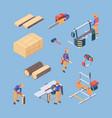 lumber work repair workers wooden production vector image vector image