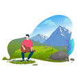 man sitting on grass and playing guitar vector image vector image