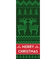 Merry Christmas banner with deers in knitted style vector image