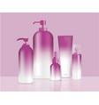 mock up realistic purple pastel bottles vector image