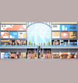 modern shopping mall interior with many people big vector image vector image