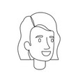 monochrome silhouette of woman face with short vector image vector image