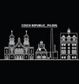 pilsen silhouette skyline czech republic - pilsen vector image vector image