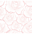 Pink outline roses on white seamless pattern vector image vector image
