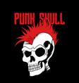 punk skull cartoon vector image vector image