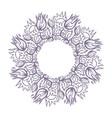 round hand drawn mandala shape flowers and herbs vector image
