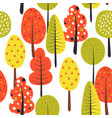 seamless pattern with trees autumn vector image vector image