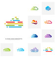 set of fast cloud logo design concept tech cloud vector image