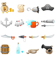 set of pirate equipment vector image