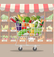 supermarket store interior with vegetables vector image vector image
