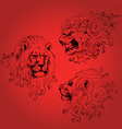 Three lions heads vector image