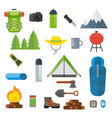 tourist equipment set vector image