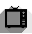 Tv sign black icon with two