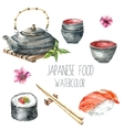 Watercolor Japanese food vector image vector image