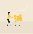young businessman and flat supermarket cart icon vector image