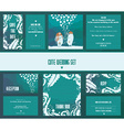 Set of wedding cards invitation thank you card vector image