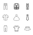 9 apparel icons vector image vector image