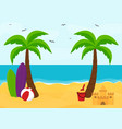 beach with palms with place for text summer vector image