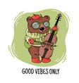 bear musician print animal music cartoon congratul vector image
