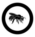 bee icon black color in circle round vector image vector image