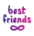 best friends forever postcard vector image