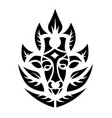 black tribal tattoo art with giraffe and leaves vector image vector image