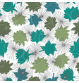 blue and green waterlilies silhouettes on lineart vector image vector image