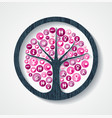 breast cancer awareness pink health icon tree vector image vector image