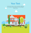 cartoon house building day time banner card vector image vector image
