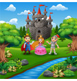 cartoon of knight with princess and prince couple vector image