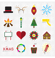 Christmas sticker icon set vector image vector image