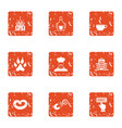 compensation icons set grunge style vector image vector image