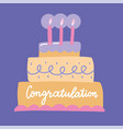 congratulations lettering on a big bday cake vector image vector image