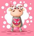 cute cow with heart air balloon love vector image