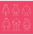 Cute line robot set on pink vector image vector image
